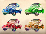 Urban Watercolor Digital Art Prints - Vw 2 Print by Mark Ashkenazi