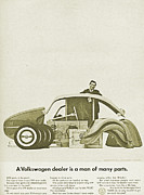 Car Advert Digital Art - VW Beetle Advert 1962 - A Volkswagen dealer is a man of many parts by Nomad Art And  Design
