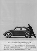 Vintage Car Digital Art Framed Prints - VW Beetle Advert 1962 - And if you run out of gas its easy to push Framed Print by Nomad Art And  Design