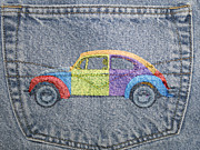 Denim Prints - Vw Beetle Print by David Ridley
