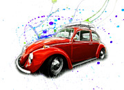 Vw Squareback Framed Prints - VW Beetle Paint Splatter Framed Print by Steve McKinzie
