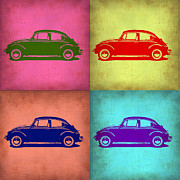 Bug Digital Art Metal Prints - VW Beetle Pop Art 1 Metal Print by Irina  March