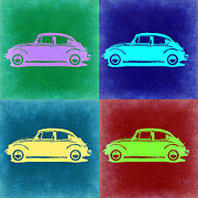 Classic Cars Digital Art Framed Prints - VW Beetle Pop Art 3 Framed Print by Irina  March