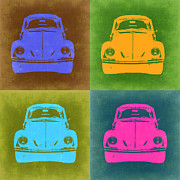 Bug Digital Art Metal Prints - VW Beetle Pop Art 6 Metal Print by Irina  March