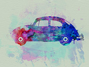 Classic Car Drawings Posters - VW Beetle Watercolor 1 Poster by Irina  March