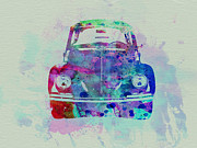 Watercolor  Drawings Posters - VW Beetle Watercolor 2 Poster by Irina  March