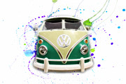 Vw Squareback Framed Prints - VW Bus Paint Splat Framed Print by Steve McKinzie