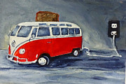 Toaster. Paintings - VW Bus Toaster by Sunny Avocado