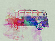 Photography Drawings Metal Prints - VW Bus Watercolor Metal Print by Irina  March