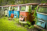 Rusted Cars Art - VW Buses by Carolyn Marshall