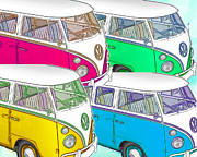 Hippie Van Posters - VW Collage Poster by Cheryl Young