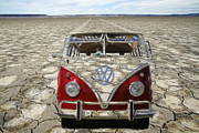 Vw Squareback Framed Prints - VW Dry Lakes Framed Print by Steve McKinzie