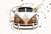 Vw Squareback Framed Prints - VW Micro Bus Art Framed Print by Steve McKinzie