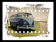 Vw Squareback Framed Prints - VW Micro Bus Film Framed Print by Steve McKinzie