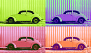 Sheet Metal Posters - VW Pop Spring Poster by Laura  Fasulo