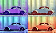 Sheet Metal Posters - VW Pop Winter Poster by Laura  Fasulo