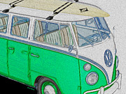Surf Board Posters - Vw Surf Bus Poster by Cheryl Young