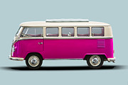 1960 Photo Originals - VW T1 Bus Bully Camper in pink on grey by Daniel Osterkamp