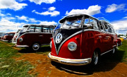 Vw Squareback Framed Prints - VW Type 2 Framed Print by Steve McKinzie