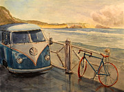Surfer Art Originals - VW Westfalia surfer by Juan  Bosco