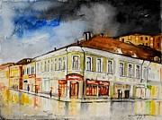 Rainy Street Painting Framed Prints - W 62 Moscow Framed Print by Dogan Soysal