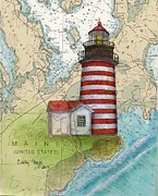 East Coast Lighthouse Paintings - W Quoddy Lighthouse ME Nautical Chart Map Art Cathy Peek by Cathy Peek