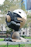 Wtc Digital Art Metal Prints - W T C Fountain Sphere Metal Print by Rob Hans