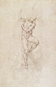 Human Body Parts Prints - W53r The Risen Christ study for the fresco of The Last Judgement in the Sistine Chapel Vatican Print by Michelangelo Buonarroti