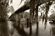 Waccamaw River Prints - Waccamaw Memorial Bridge in April 2 Sepia Print by MM Anderson