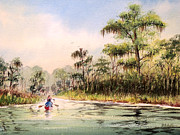 Kayaking Art Paintings - Wacissa River  by Bill Holkham