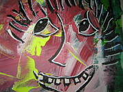 Outsider Art Paintings - Wacky Face 501 by Dotti Hannum