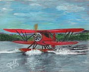 Biplane Paintings - Waco Cabin Biplane Circa 1930 by Cliff Wilson