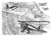 Biplane Drawings - Waco YMF - Vintage Biplane Aviation Art by Kelli Swan
