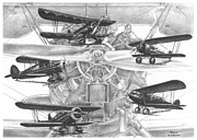 Biplane Drawings - Wacos - Vintage Biplane Aviation Art by Kelli Swan