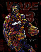 Basketball Mixed Media Framed Prints - Wade Framed Print by Maria Arango