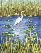 Blue Herron Painting Posters - Wading and Watching Poster by Katherine Young-Beck