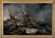 Catastrophe Framed Prints - Wael Cornelis De, Shipwreck, 1650, 17th Framed Print by Everett