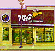 Streetscenes Paintings - Wag A Posh Pet Store Cafe For Spoiled Pets The Glebe Paintings Of Old Ottawa South Carole Spandau  by Carole Spandau