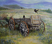 Crows Paintings - Wagon and Crows by Ann Arensmeyer