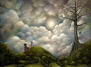 Fantasy Tree Originals - Wagon Trails. Fantasy Landscape Fairytale Art By Philippe Fernandez   by Philippe Fernandez