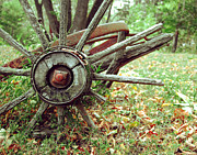 Conestoga Wagon Photos - Wagon Wheel by Jamie Austin