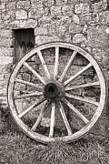 Vintage Wagon Framed Prints - Wagon Wheel Framed Print by Olivier Le Queinec