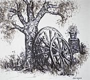 Wagon Drawings Framed Prints - Wagon Wheels and Old Tree Framed Print by Judy Sprague