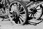 Wagon Wheels Photos - Wagon Wheels B/w by Hank Taylor