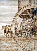 Wood Burn Pyrography Prints - Wagon Wheels Westward Print by Melissa Fuller