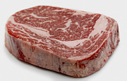 Kobe Beef Metal Prints - Wagyu ribeye steak raw Metal Print by Paul Cowan