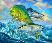 Striped Marlin Painting Posters - Wahoo Mahi Mahi And Tuna Poster by Terry  Fox