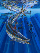 Black Marlin Framed Prints - Wahoo spear Framed Print by Carey Chen
