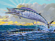 Black Marlin Framed Prints - Wahoo sunrise Off0064 Framed Print by Carey Chen