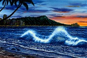 Hawaii Sunset Posters - Waikiki Beach Sunset Poster by John YATO